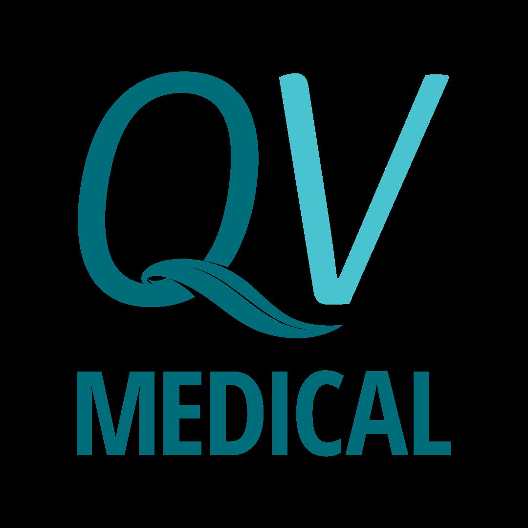 QV Medical logo in footer of website